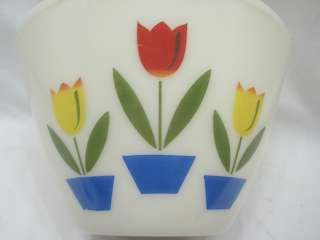 fire king ivory glass mixing bowl with classic tulip print on the