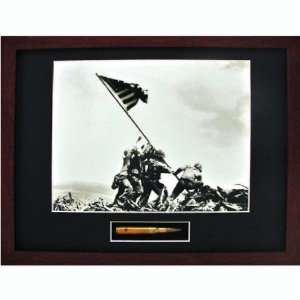 Raising the Flag on Iwo Jima Signed Print with 30cal