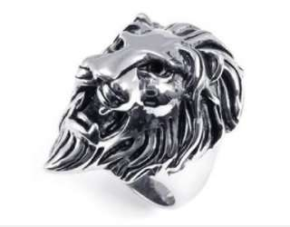 Mens Antique Silver Tone Stainless Steel Lion King Ring