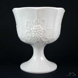 Vintage Indiana Milk Glass Harvest Grapes Compote