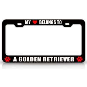 MY HEART BELONGS TO A GOLDEN RETRIEVER Dog Pet Steel Metal
