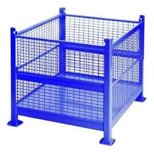 Wire Mesh Steel Container, 40 1/2X34 1/2X32 2 Gates