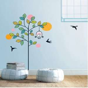 Modern House Love Birds In a Tree removable Vinyl Mural Art