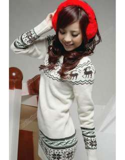 New Soft Women knit Sweater dresses Top Pullover Jumper Snowflake Deer