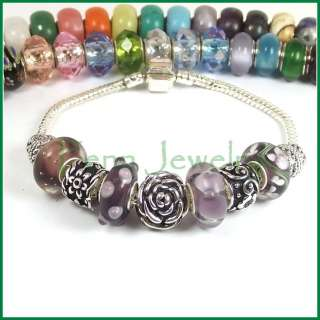 Interchangeable European Charm Bracelet Starter Purple Murano Glass