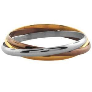 Inox Jewelry Womens Tri Color 316L Stainless Steel Bangle
