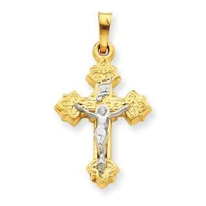 14k Gold Two tone INRI Hollow Crucifix Pendant Jewelry