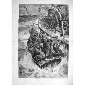 1887 THEIR ONLY BOAT SHIP WRECK LIFE BOAT SEA FINE ART