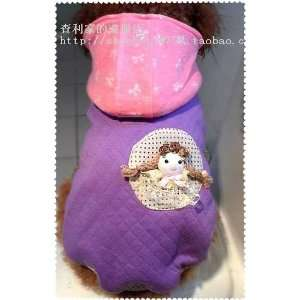 Original Handmaded Teddy Bear Purple Cotton Dog Coat