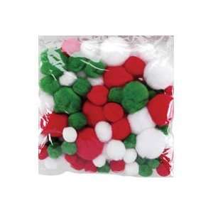 Darice Pom Poms Christmas White/Green/Red Assorted 100pc