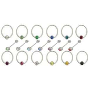 Jeweled MultiColored Belly Rings Pack for Body Piercing Electronics