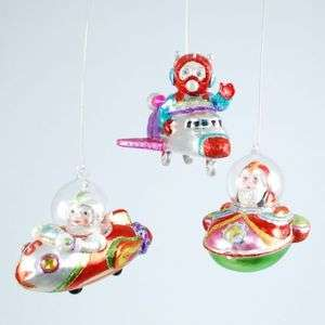 SPACESHIPS ROCKETS Space Shuttle Santa Christmas Ornaments Set / 3