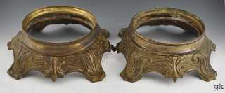 Pair 2 Antique Brass/Bronze Lamp Bases American c. 1900