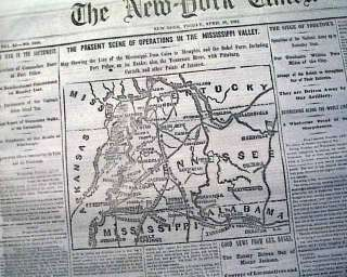 OF SHILOH Memphis Tennessee TN Civil War Miss. Valley MAP Newspaper
