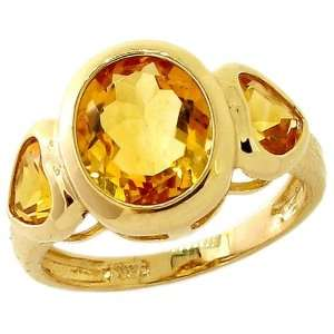 Gold Oval and Heart Three Stone Ring Citrine, size7 diViene Jewelry