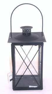 Antique Style Iron & Glass Pillar Candle Lantern 16 Tall