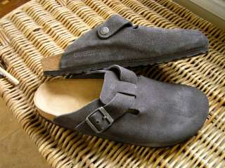 BIRKENSTOCK BOSTON Clogs Suede Leather Gray Size Choice