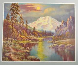 1957 Natures Paradise Vintage Print Cabin River Mountains
