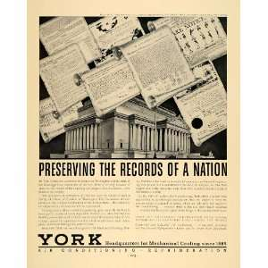 1936 Ad York Air Conditioning Refrigeration Records