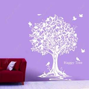 Happy tree and birds removable vinyl art wall decals
