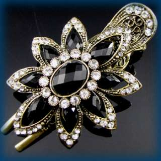 ADDL Item  antiqued crystal rhinestone flower hair clamp