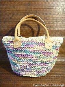 Vtg. WOVEN PASTEL Straw Leather Strap Satchel TOTE Bag