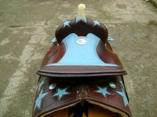 STUNNING 15 DARK OIL TURQUOISE OSTRICH INLAY WESTERN SHOW BARREL