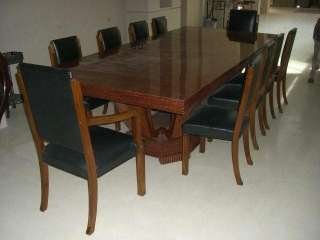 Set of 10 Leather Chairs & Art Deco Table c. 1920
