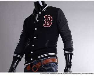 New Mens Slim Fit Baseball Jackets Coats Uniform 3 Colours HN96