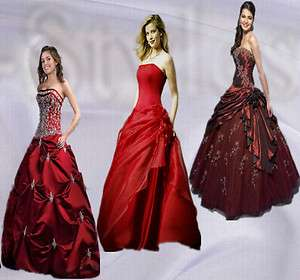 New 3 Styles Reds A Line Evening Ball Gowns Prom Dresses Size 6 8 10