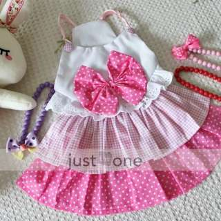 lovely big bow dog dress clothes costume skirt pink s m l xl article