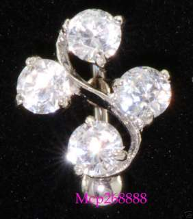 Clear W/4 Swarovski Gem Reverse Belly ring Body Jewelry