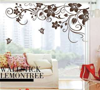 Stylish & elegant style Large Butterfly Vine Flower Wall Stickers