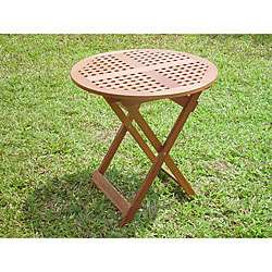 Hardwood 28 inch Round Checkerboard Folding Table