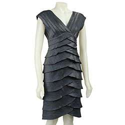 Adrianna Papell Womens Sleeveless Tiered Dress