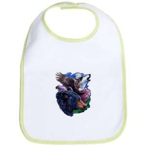 Baby Bib Kiwi Bear Bald Eagle and Wolf