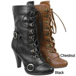 Anne Michelle by Journee Womens Lace up High Heel Boots