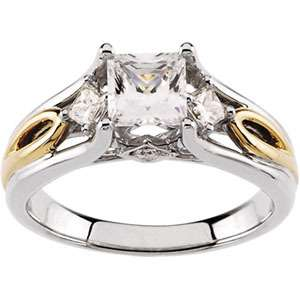 14 Karat White and Yellow Gold Two Tone Diamond Semi mount Engagement