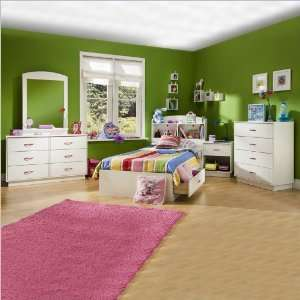 South Shore Logik Kids Wood White Captains Bed 5 Piece