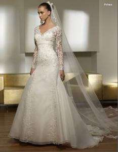 long lace sleeve wedding dress bridal gown size custom