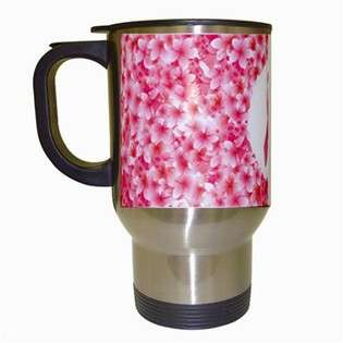 Travel Coffee Drink Mug of Breast Cancer Awareness Pink Ribbon with