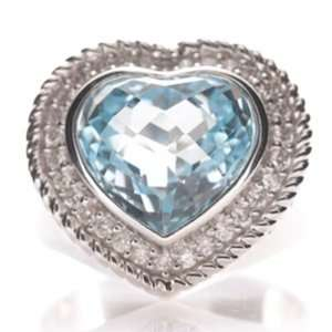 14k White Gold Pave Diamond Blue Topaz Heart Ring Jewelry