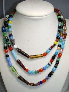 Long Vintage Multi Color ART GLASS Bead Necklace 48