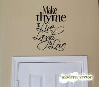 Make thyme Live Laugh Kitchen Vinyl Wall Quote Decal