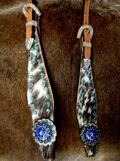 LEATHER HEADSTALL BLUE CONCHOS BARREL RACING HAIR ON TURQUOISE Z8