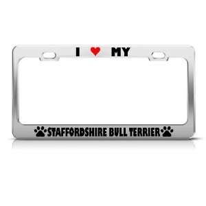 Staffordshire Bull Terrier Paw Love Heart Dog license plate frame