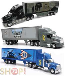 AMRY AIR FORCE NAVY COMBO TRUCKS TRAILER SEMI LONG HAULER DIECAST
