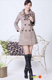 Women Fashion Vintage Slim Fit OL Trench Coat Jacket Outwear 4 Colors