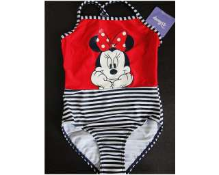 New Girls Disney Minnie Mouse 1 Pc Swimsuits Size 4 11T