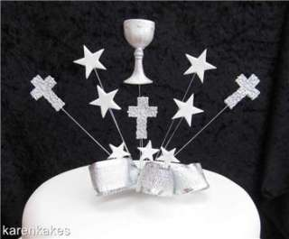 FIRST HOLY COMMUNION CAKE TOPPER WITH CHALICE SILVER